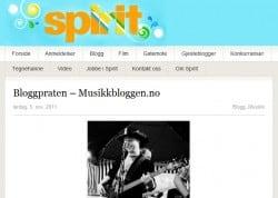 Musikkbloggen omtales på Spirit.no